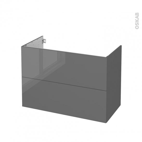 Meuble de salle de bains - Sous vasque - STECIA Gris - 2 tiroirs - Côtés décors - L100 x H70 x P50 cm