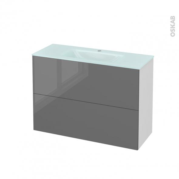 Meuble de salle de bains - Plan vasque EGEE - STECIA Gris - 2 tiroirs - Côtés blancs - L100,5 x H71,2 x P40,5 cm