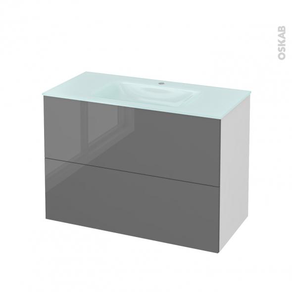 Meuble de salle de bains - Plan vasque EGEE - STECIA Gris - 2 tiroirs - Côtés blancs - L100,5 x H71,2 x P50,5 cm
