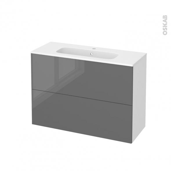 Meuble de salle de bains - Plan vasque REZO - STECIA Gris - 2 tiroirs - Côtés blancs - L100,5 x H71,5 x P40,5 cm