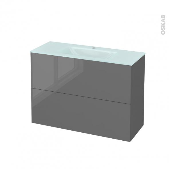 Meuble de salle de bains - Plan vasque EGEE - STECIA Gris - 2 tiroirs - Côtés décors - L100,5 x H71,2 x P40,5 cm