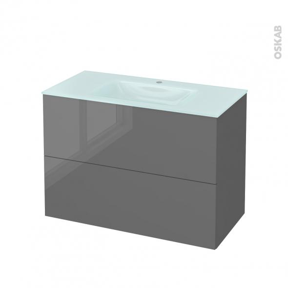 STECIA Gris - Meuble salle de bains N°612 - Vasque EGEE - 2 tiroirs  - L100,5xH71,2xP50,5