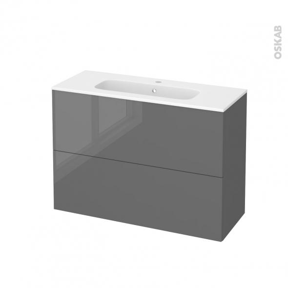 Meuble de salle de bains - Plan vasque REZO - STECIA Gris - 2 tiroirs - Côtés décors - L100,5 x H71,5 x P40,5 cm