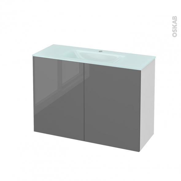 STECIA Gris - Meuble salle de bains N°711 - Vasque EGEE - 2 portes Prof.40 - L100,5xH71,2xP40,5
