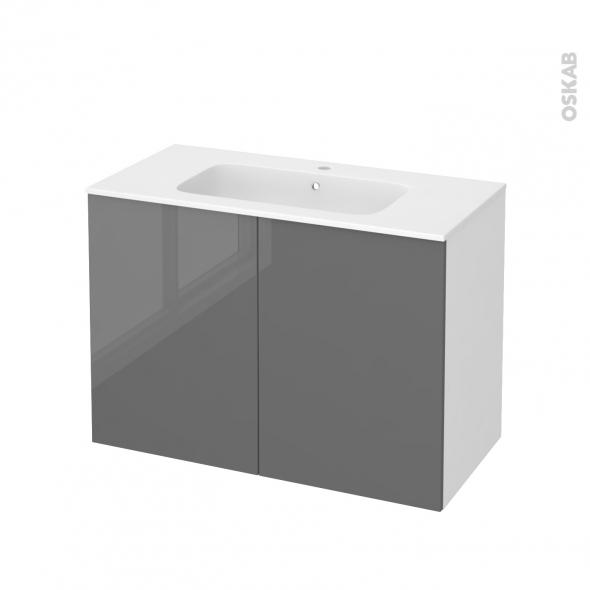 Meuble de salle de bains - Plan vasque REZO - STECIA Gris - 2 portes - Côtés blancs - L100,5 x H71,5 x P50,5 cm