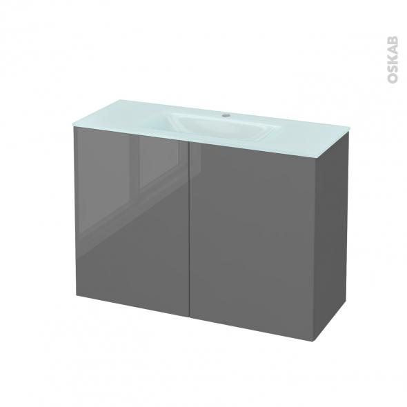 Meuble de salle de bains - Plan vasque EGEE - STECIA Gris - 2 portes - Côtés décors - L100,5 x H71,2 x P40,5 cm