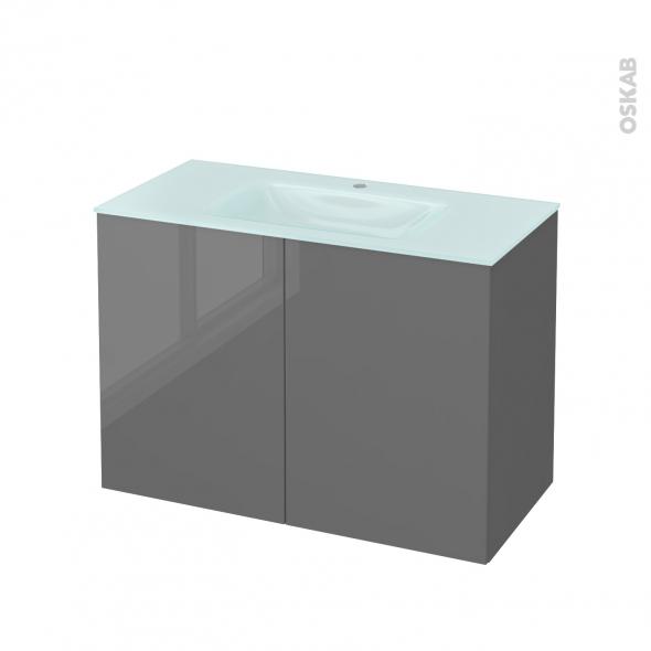 Meuble de salle de bains - Plan vasque EGEE - STECIA Gris - 2 portes - Côtés décors - L100,5 x H71,2 x P50,5 cm