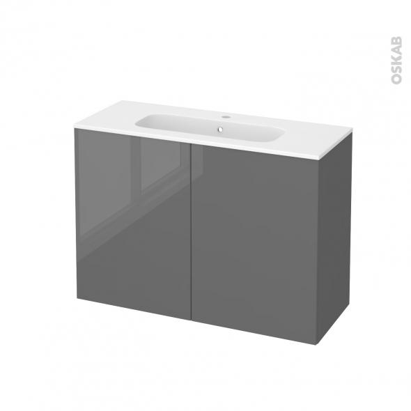 Meuble de salle de bains - Plan vasque REZO - STECIA Gris - 2 portes - Côtés décors - L100,5 x H71,5 x P40,5 cm