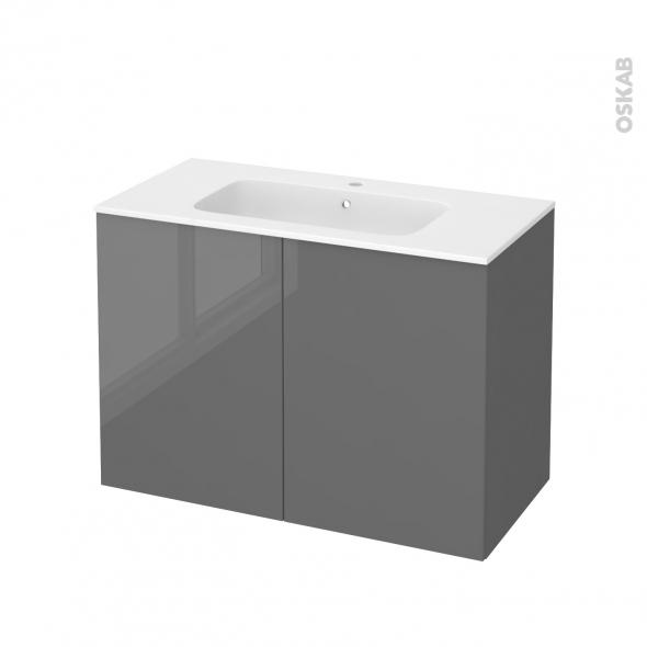 Meuble de salle de bains - Plan vasque REZO - STECIA Gris - 2 portes - Côtés décors - L100,5 x H71,5 x P50,5 cm