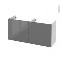 Meuble de salle de bains - Sous vasque double - STECIA Gris - 4 tiroirs - Côtés blancs - L120 x H57 x P40 cm