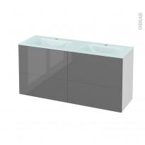 Meuble de salle de bains - Plan double vasque EGEE - STECIA Gris - 4 tiroirs - Côtés blancs - L120,5 x H58,2 x P40,5 cm
