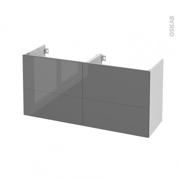 STECIA Gris - Meuble sous vasque N°671 - Côté blanc - Double vasque - 4 tiroirs prof.40 - L120xH57xP40