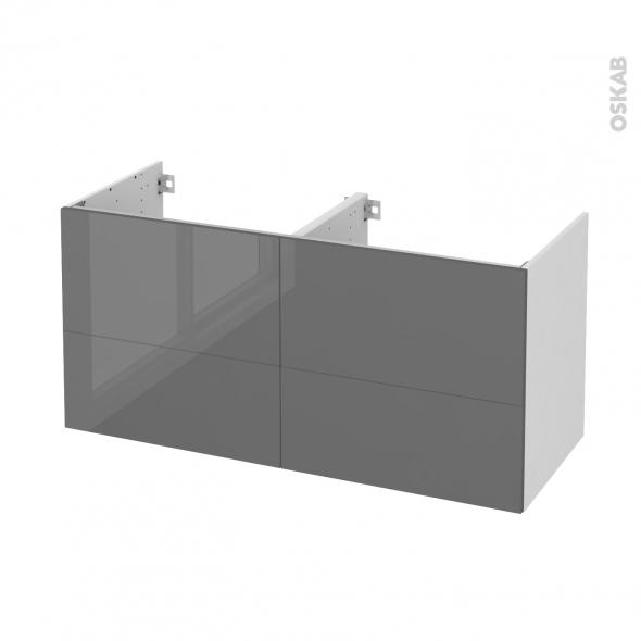 STECIA Gris - Meuble sous vasque N°671 - Côté blanc - Double vasque - 4 tiroirs - L120xH57xP50