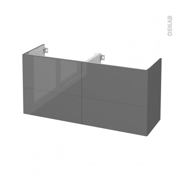 STECIA Gris - Meuble sous vasque N°672 - Côté décor - Double vasque - 4 tiroirs prof.40 - L120xH57xP40