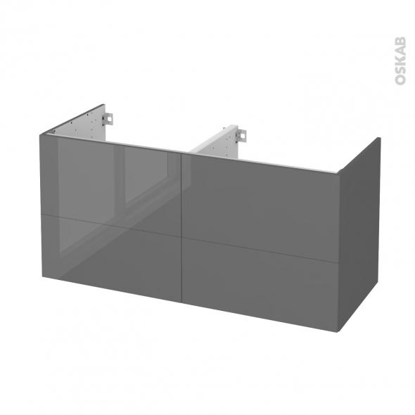 STECIA Gris - Meuble sous vasque N°672 - Côté décor - Double vasque - 4 tiroirs - L120xH57xP50