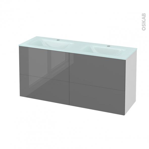 STECIA Gris - Meuble salle de bains N°671 - Double vasque EGEE - 4 tiroirs Prof.40 - L120,5xH58,2xP40,5