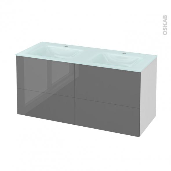 STECIA Gris - Meuble salle de bains N°671 - Double vasque EGEE - 4 tiroirs  - L120,5xH58,2xP50,5