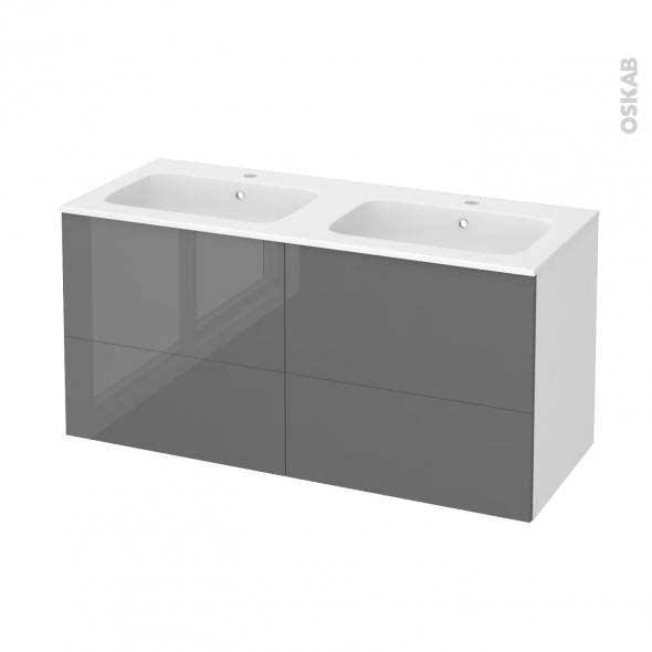 Meuble de salle de bains - Plan double vasque REZO - STECIA Gris - 4 tiroirs - Côtés blancs - L120,5 x H58,5 x P50,5 cm
