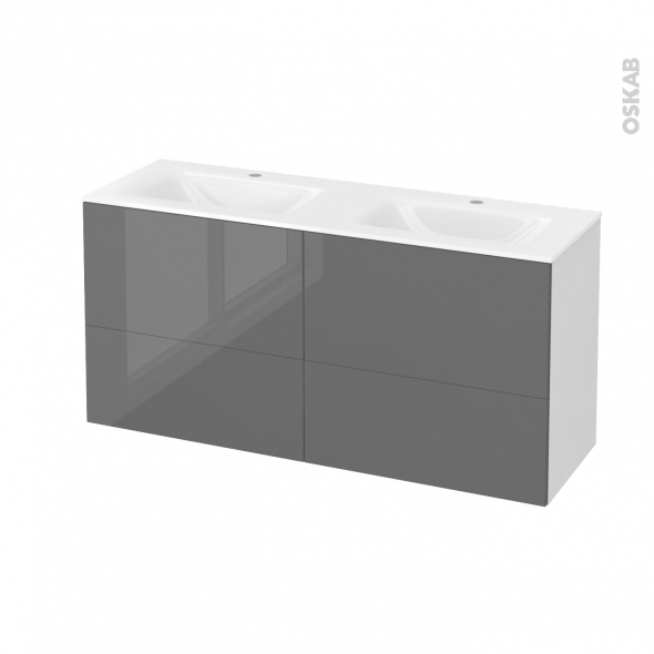 STECIA Gris - Meuble salle de bains N°671 - Double vasque VALA - 4 tiroirs Prof.40 - L120,5xH58,2xP40,5