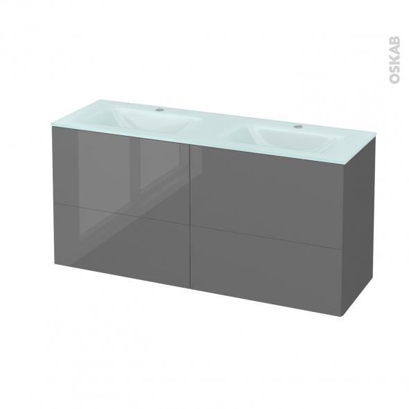 Meuble de salle de bains - Plan double vasque EGEE - STECIA Gris - 4 tiroirs - Côtés décors - L120,5 x H58,2 x P40,5 cm