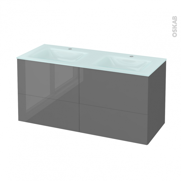 STECIA Gris - Meuble salle de bains N°672 - Double vasque EGEE - 4 tiroirs  - L120,5xH58,2xP50,5