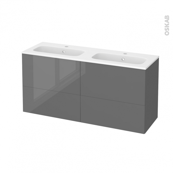STECIA Gris - Meuble salle de bains N°672 - Double vasque REZO - 4 tiroirs Prof.40 - L120,5xH58,5xP40,5