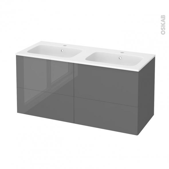 Meuble de salle de bains - Plan double vasque REZO - STECIA Gris - 4 tiroirs - Côtés décors - L120,5 x H58,5 x P50,5 cm