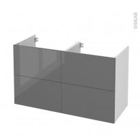 Meuble de salle de bains - Sous vasque double - STECIA Gris - 4 tiroirs - Côtés blancs - L120 x H70 x P50 cm