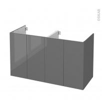 Meuble de salle de bains - Sous vasque double - STECIA Gris - 4 portes - Côtés décors - L120 x H70 x P50 cm