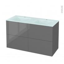 Meuble de salle de bains - Plan double vasque EGEE - STECIA Gris - 4 tiroirs - Côtés décors - L120,5 x H71,2 x P50,5 cm