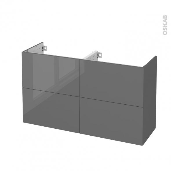 Meuble de salle de bains - Sous vasque double - STECIA Gris - 4 tiroirs - Côtés décors - L120 x H70 x P40 cm