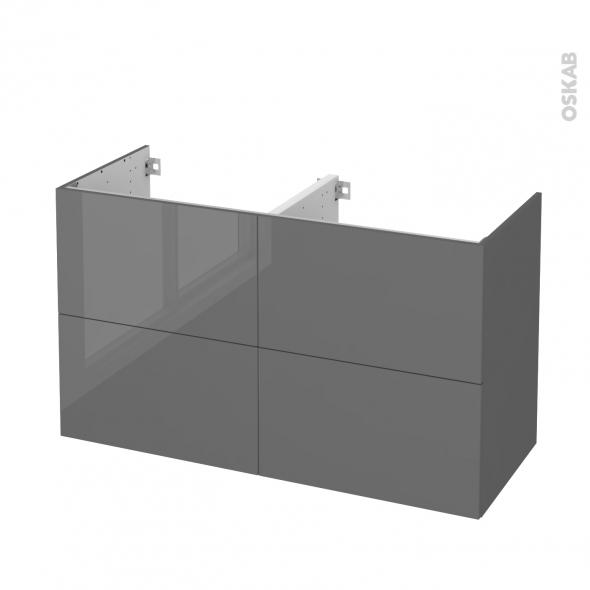 STECIA Gris - Meuble sous vasque N°722 - Côté décor - Double vasque - 4 tiroirs - L120xH70xP50