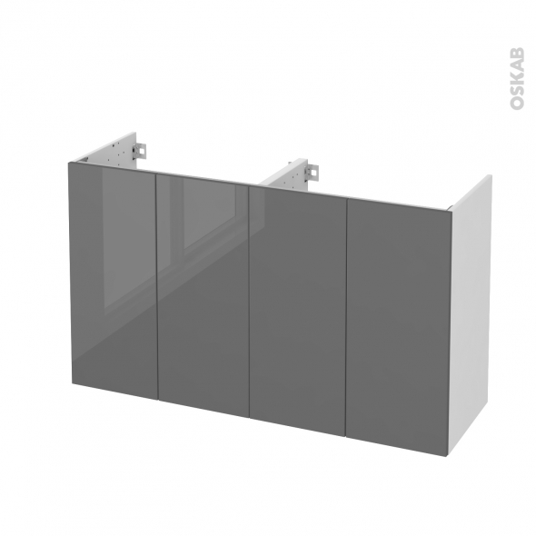 STECIA Gris - Meuble sous vasque N°731 - Côté blanc - Double vasque - 4 portes prof.40 - L120xH70xP40