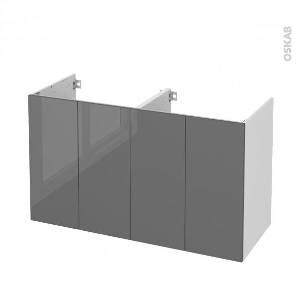 Meuble de salle de bains - Sous vasque double - STECIA Gris - 4 portes - Côtés blancs - L120 x H70 x P50 cm
