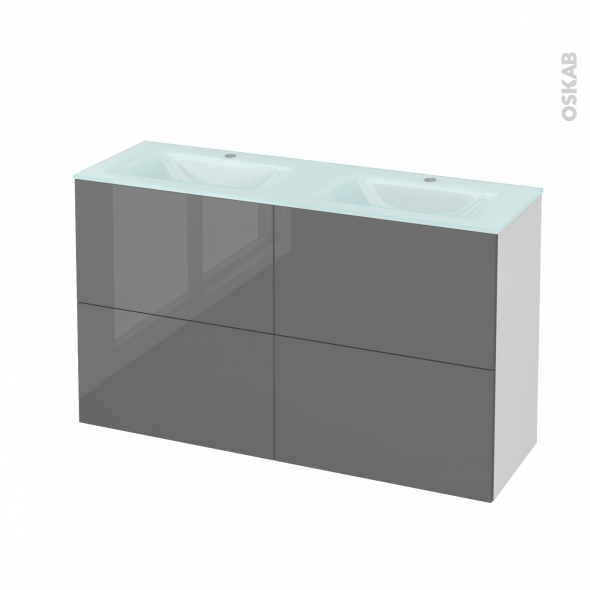 Meuble de salle de bains - Plan double vasque EGEE - STECIA Gris - 4 tiroirs - Côtés blancs - L120,5 x H71,2 x P40,5 cm