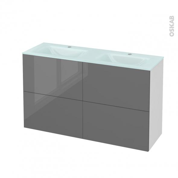 STECIA Gris - Meuble salle de bains N°721 - Double vasque EGEE - 4 tiroirs Prof.40 - L120,5xH71,2xP40,5