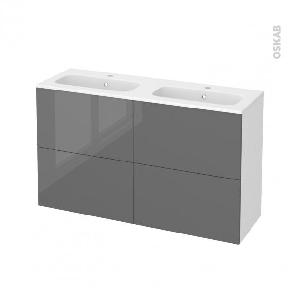 Meuble de salle de bains - Plan double vasque REZO - STECIA Gris - 4 tiroirs - Côtés blancs - L120,5 x H71,5 x P40,5 cm