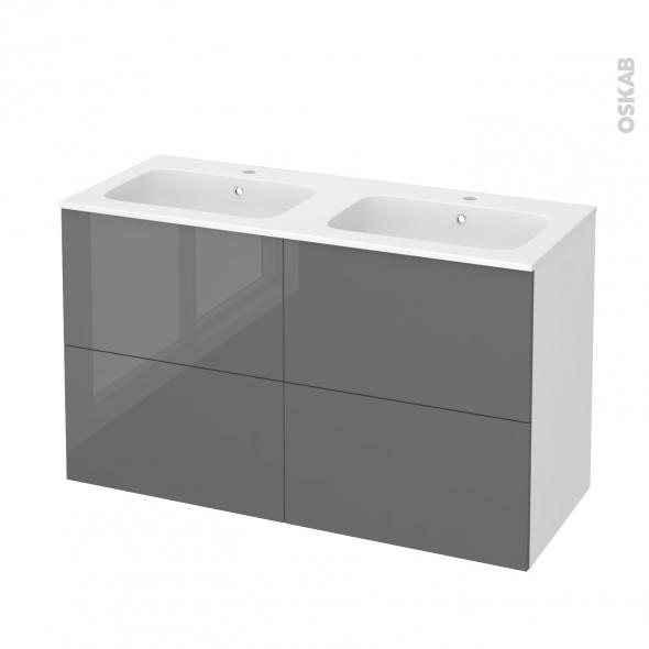 Meuble de salle de bains - Plan double vasque REZO - STECIA Gris - 4 tiroirs - Côtés blancs - L120,5 x H71,5 x P50,5 cm
