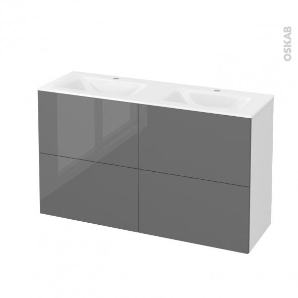 Meuble de salle de bains - Plan double vasque VALA - STECIA Gris - 4 tiroirs - Côtés blancs - L120,5 x H71,2 x P40,5 cm