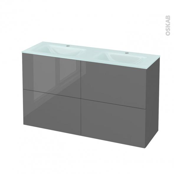 Meuble de salle de bains - Plan double vasque EGEE - STECIA Gris - 4 tiroirs - Côtés décors - L120,5 x H71,2 x P40,5 cm