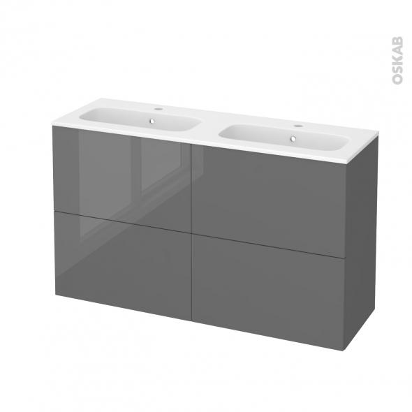 Meuble de salle de bains - Plan double vasque REZO - STECIA Gris - 4 tiroirs - Côtés décors - L120,5 x H71,5 x P40,5 cm