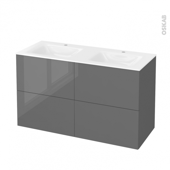 STECIA Gris - Meuble salle de bains N°722 - Double vasque VALA - 4 tiroirs  - L120,5xH71,2xP50,5