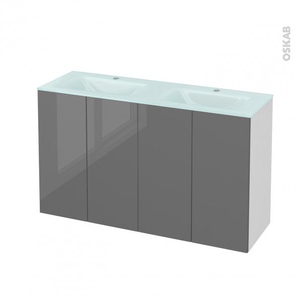 STECIA Gris - Meuble salle de bains N°731 - Double vasque EGEE - 4 portes Prof.40 - L120,5xH71,2xP40,5