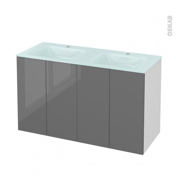 Meuble de salle de bains - Plan double vasque EGEE - STECIA Gris - 4 portes - Côtés blancs - L120,5 x H71,2 x P50,5 cm