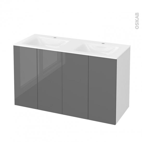Meuble de salle de bains - Plan double vasque VALA - STECIA Gris - 4 portes - Côtés blancs - L120,5 x H71,2 x P50,5 cm