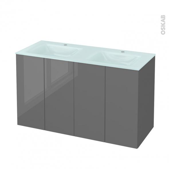 Meuble de salle de bains - Plan double vasque EGEE - STECIA Gris - 4 portes - Côtés décors - L120,5 x H71,2 x P50,5 cm