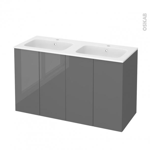 Meuble de salle de bains - Plan double vasque REZO - STECIA Gris - 4 portes - Côtés décors - L120,5 x H71,5 x P50,5 cm