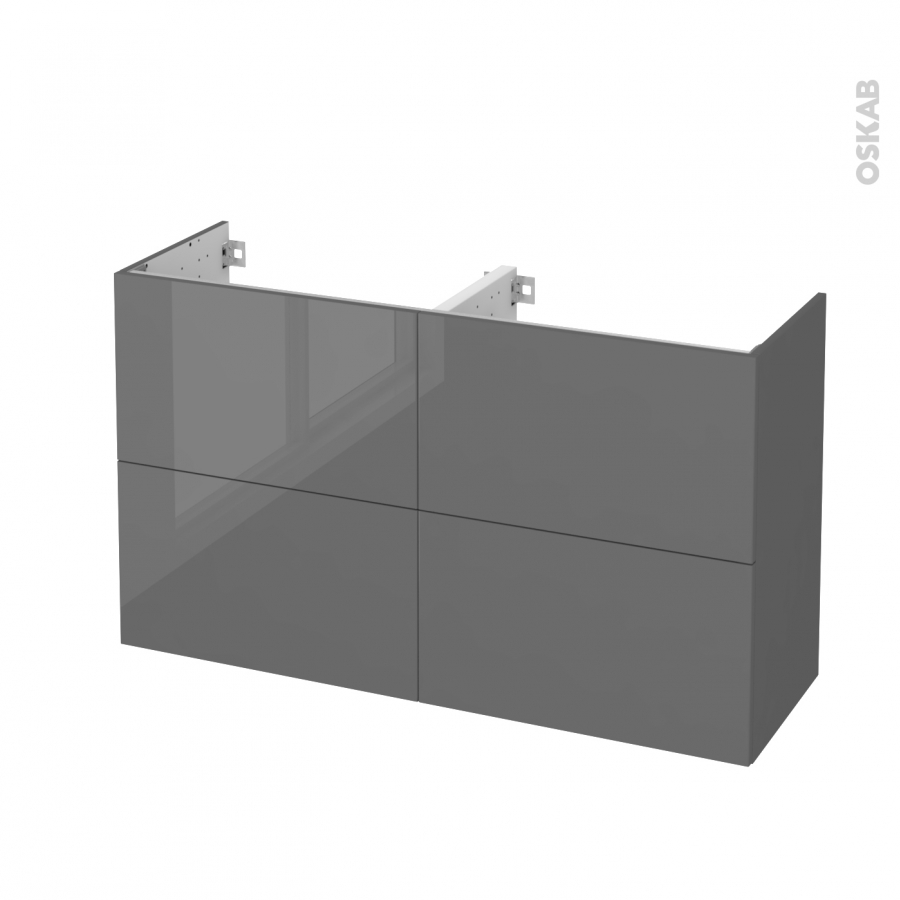 Meuble de salle de bains sous vasque double stecia gris 4 for Meuble plein de tiroir