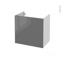 Meuble de salle de bains - Sous vasque - STECIA Gris - 1 porte - Côtés blancs - L60 x H57 x P40 cm