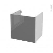 Meuble de salle de bains - Sous vasque - STECIA Gris - 1 porte - Côtés blancs - L60 x H57 x P50 cm